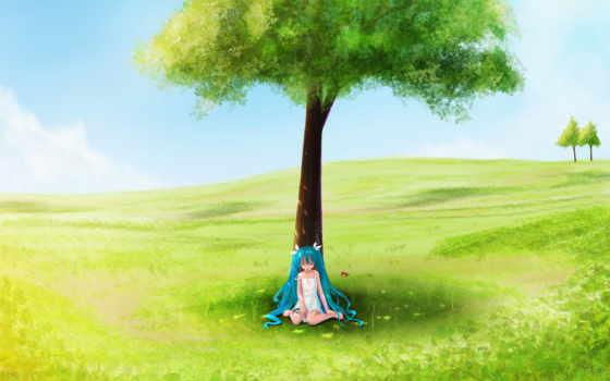 anime, поле, луг