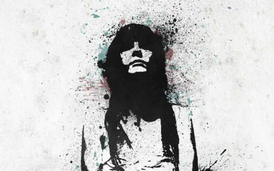 девушка, graffiti, краска, брызги, контур, волосы,