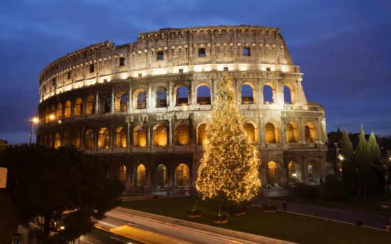 new, год, италии, взгляд, елка, coliseum, свет, hdr, рим, italy,
