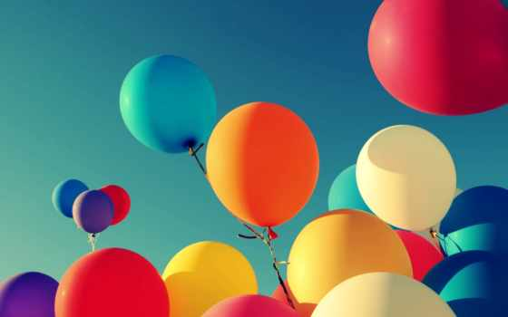 воздушные, shariki, шары, девушка, широкоформатные, небо, нитки, настроения,