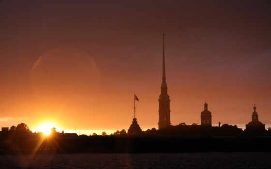 санкт, петербург, peter, закат, fortress, петропавловская,