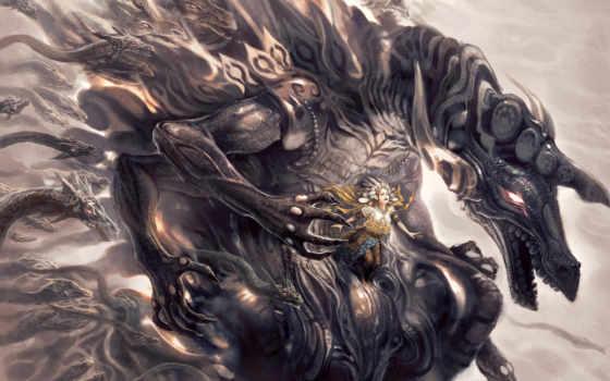 дракон, monster, змеи, девушка, fantasy, art,