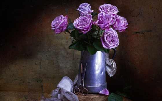 роза, vintage, cvety, стиль, интерьер, ножницы