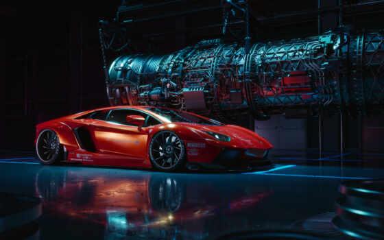 car, aventador, red, sporty,