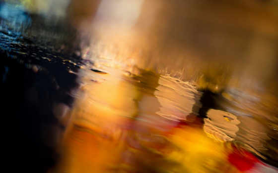 ночь, город, боке, дождь, огни, дорога,
