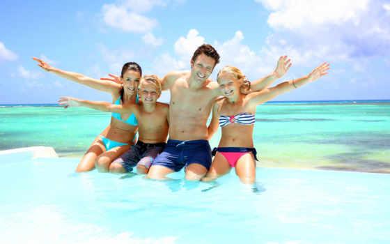 more, семья, небо, пляж,