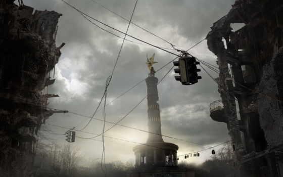 развалины, город, совершенно