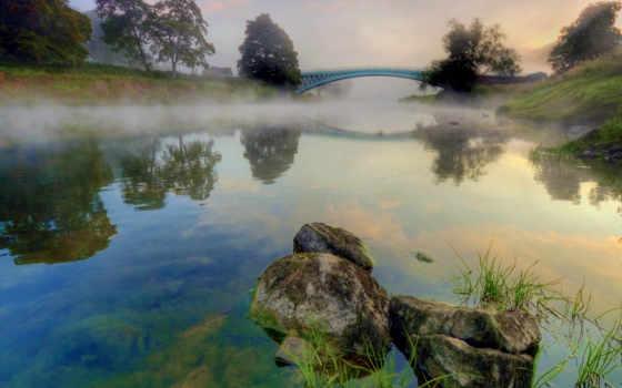 туман, утро, reka
