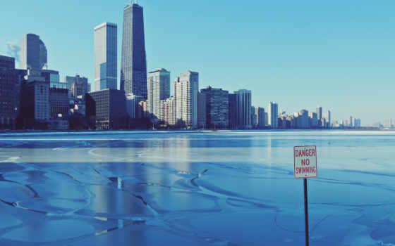 chicago, город, háttérképek, winter, лед, небоскребы,