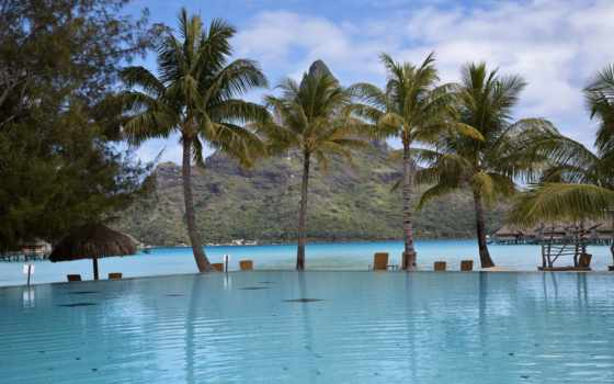пальмы, бассейн, basen, house, góry, villa, затока, pulpit,