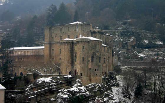 замки, castle, зимние, часть, хмурый, зимой, medieval, winter,