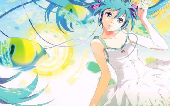 vocaloid, hatsune, miku, anime, волосы, eyes, headphones, blue,