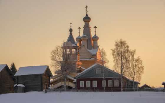 архангельск, кимжа, площадь, теме, деревня, landscape, winter,