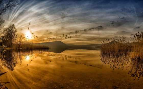 landscape, закат, озеро, камыш, степь, дек, поле, des, стих, photobase, страница,
