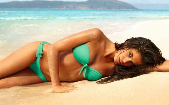 пляже, красивый, бикини, sara, загар, море, пляж, красивые, sampaio, их, devushki,