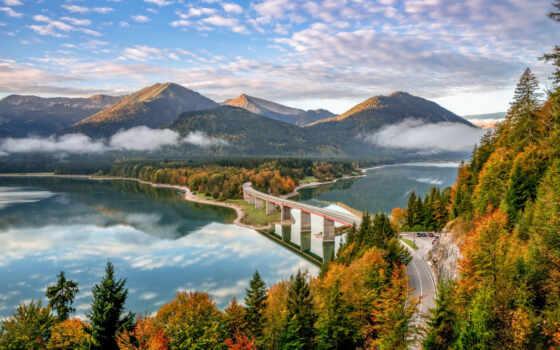 castorland, rising, озеро, мост, sun, germanii,