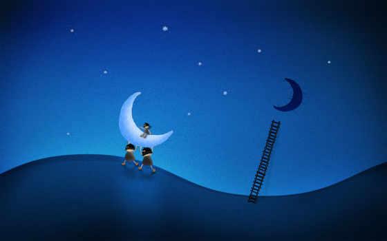 moon, stole, рисунок, luna, лестница, воры,