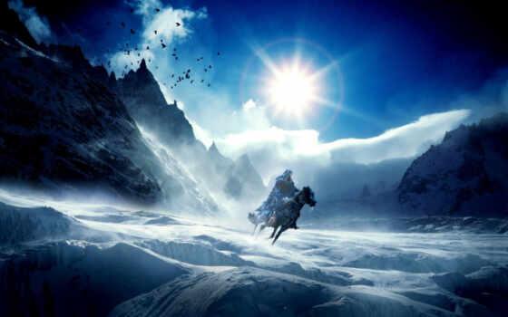 зима, горы, лед, конь, artwork, художество, сосульки, всадник, ein, und, всадники, холод, фантастика, фантазия, художественная, солнце, фантастический, стиле, изображения,