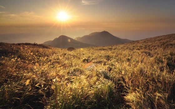 горы, трава, солнце, гора, пейзажи, китай, вид, холмы, картинка, природа, травы, горные,
