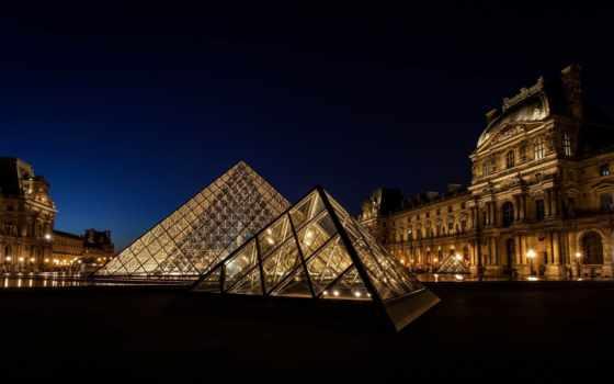 париж, france, город, лувр, музей, пирамида,