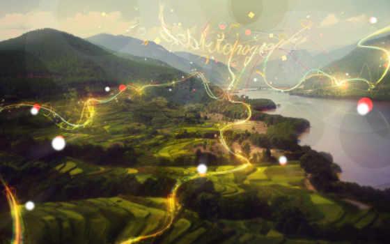 priroda, art, обработка, горы, grafika, растения, kartinka, пейзаж, reka,