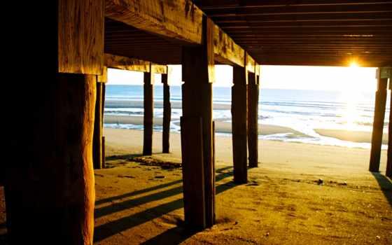пляж, мост, фон, wooden, море, картинка, long,