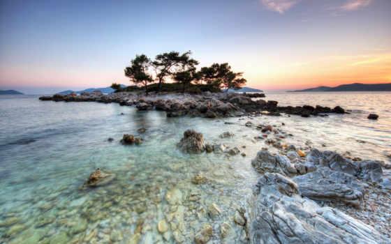 остров, природа, широкоформатные, landscape, дерево, море, hellsing, способен,