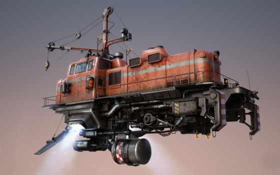 поезд, фантастика, машины, летит, flying,