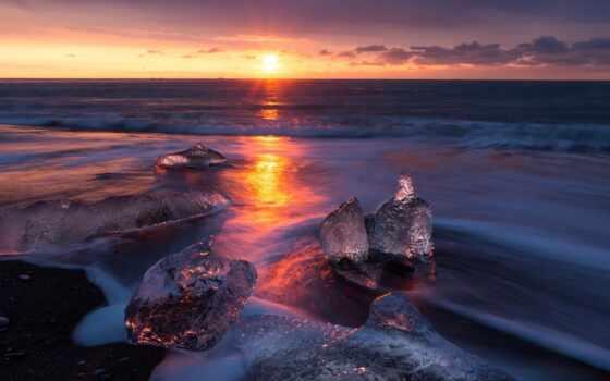 закат, окно, небо, landscape, red, природа, winter, рассвет, ocean