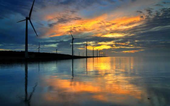 ветер, усилитель, турбина, turbines, кабриолет, пресс, water,