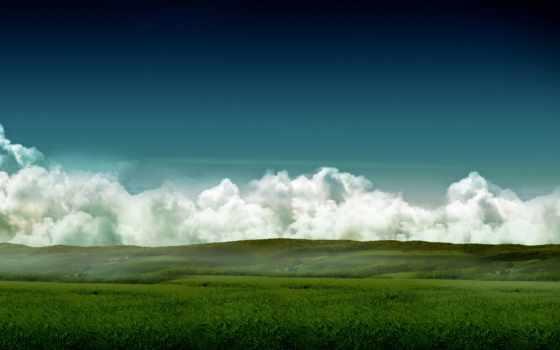 поле, небо, трава