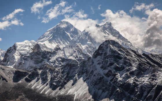 горы, снег, oblaka