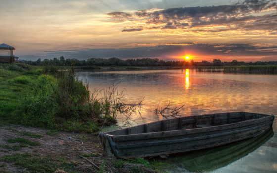 лодка, деревянная, небольшого, водоема, пришвартованная, озеро, беседка, fone,