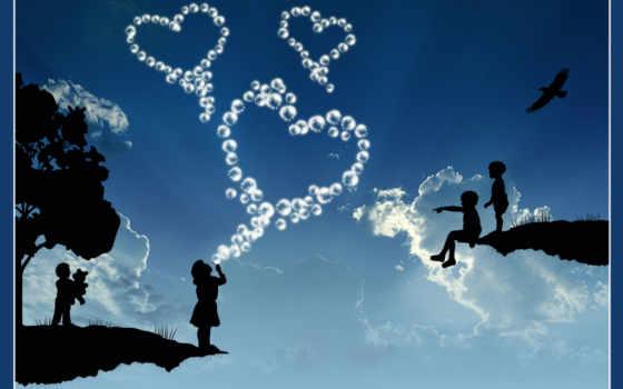 love, небо, blue