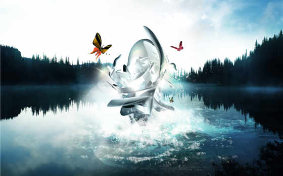 water, abstract, птицы, абстракция, desktop, отражение, бабочки, фигуры, animals,