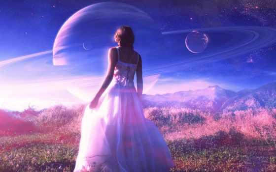 cosmos, девушка, art, платье, белое, planet, эрокосмос,