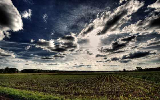 небо, hdr, поле, oblaka, синее, фотографий,