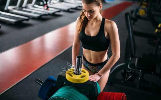 фитнес, тонкий, спортсменка, модель, женский, лифчик, workout, gym, club, женщина