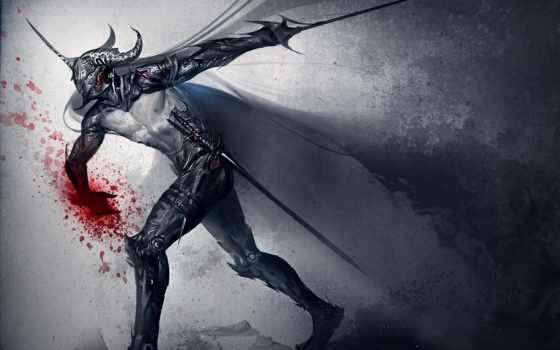 оружие, кровь, шлем, арт, меч, dark, картинку, sakimichan, knight, картинка,