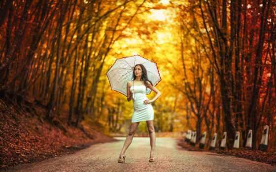 девушка, осень, платье
