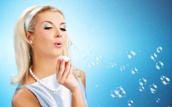 мыльные, пузыри, девушка, выдувает, devushki, пускает, мыльных,