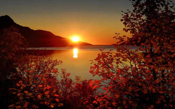 море, sun, ветки, монитора, правила, чему, осень, горы, небо, rays,