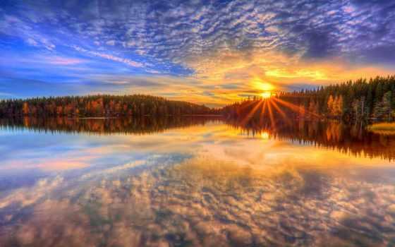 лес, trees, финляндия, закат, озеро, елки, hintergrundbild,