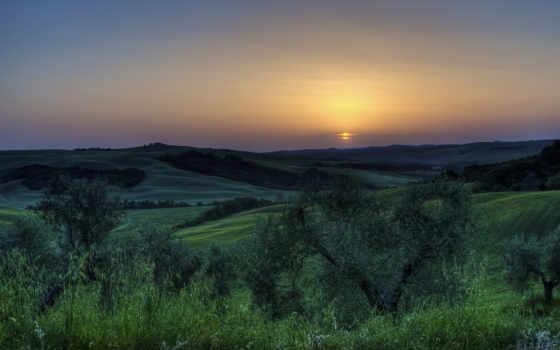 landscapes, coucher, soleil