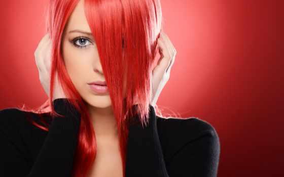 волосы, красные, девушка, devushki, красными, волосами, лицо, волос, руки, gif, черном,