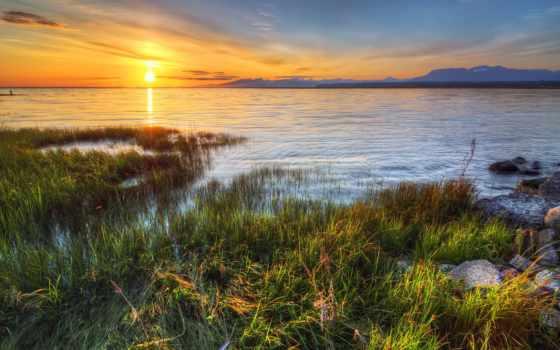 трава, река, воде, water, фоны, природа, sun, закат, со, заставки,