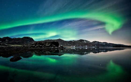сияние, северное, небо, ночь, горы, широкоформатные,