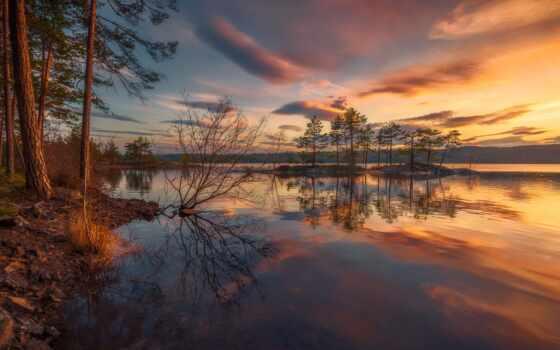 норвегия, ole, skjelstad, озеро, ringerike, закат, небо, house, winter, fore, кабина