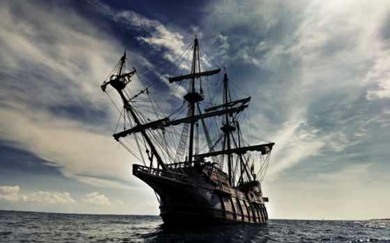 корабль, волны, море
