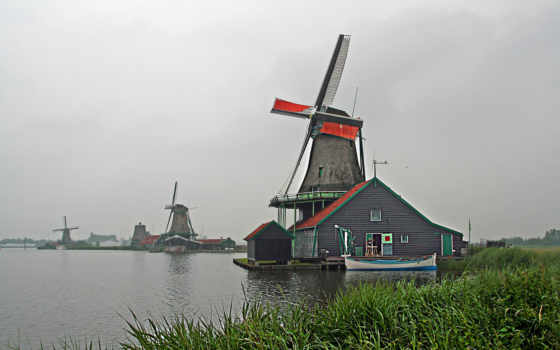 голландии, mill, holland, ветряная, мельниц, мельницы,